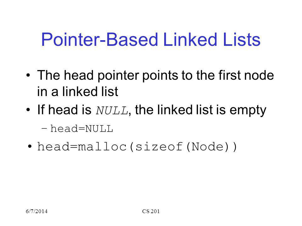 Pointer-Based Linked Lists The head pointer points to the first node in a linked list If head is NULL, the linked list is empty –head=NULL head=malloc(sizeof(Node)) 6/7/2014CS 201