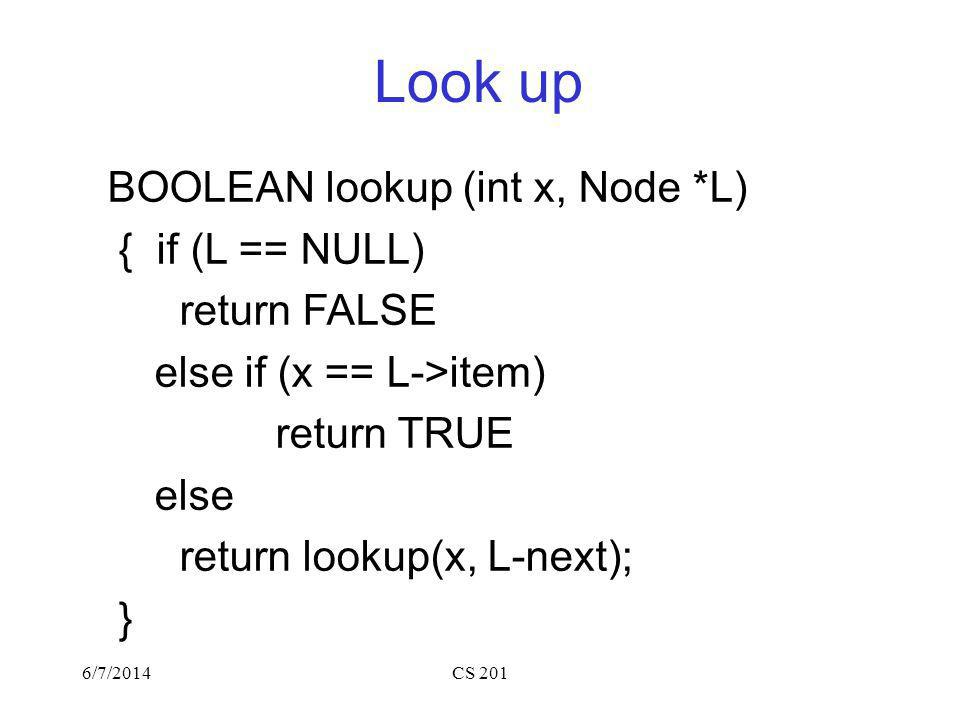 Look up BOOLEAN lookup (int x, Node *L) { if (L == NULL) return FALSE else if (x == L->item) return TRUE else return lookup(x, L-next); } 6/7/2014CS 201