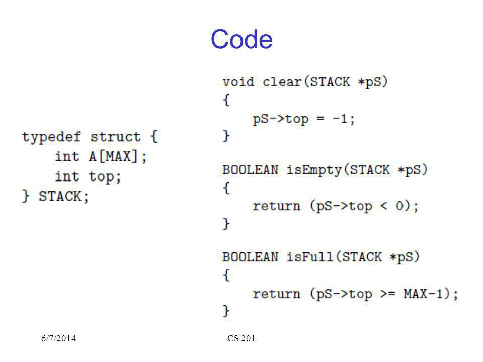 6/7/2014CS 201 Code