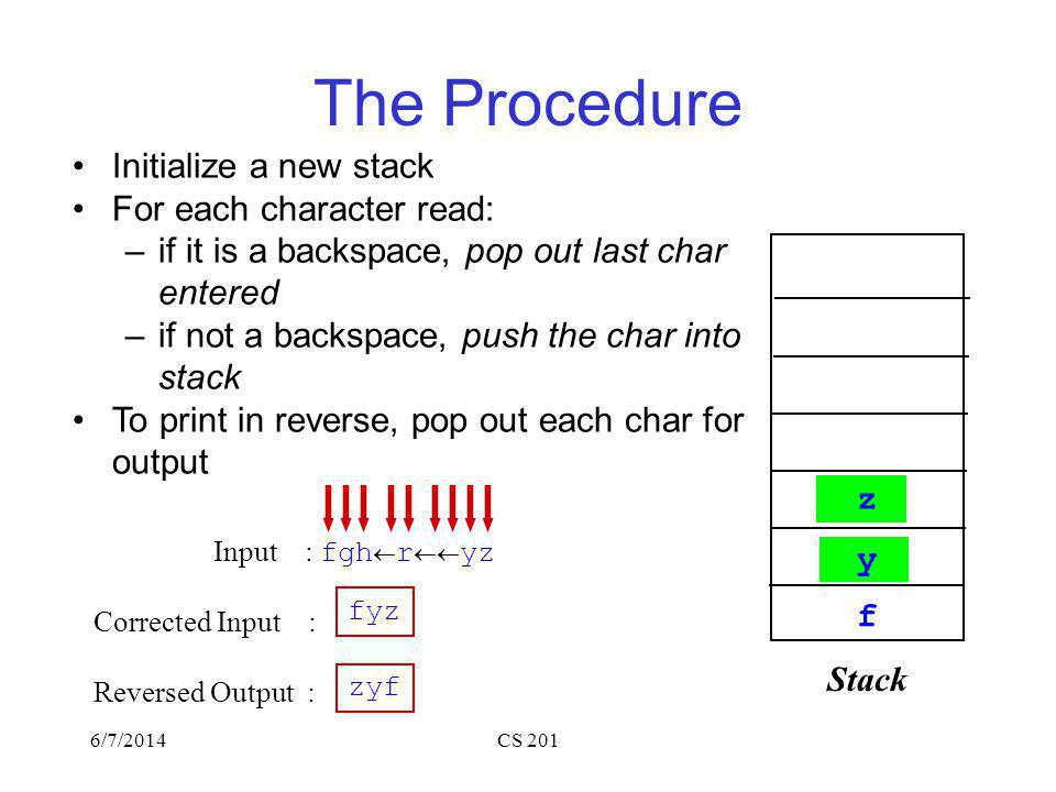 6/7/2014CS 201 The Procedure Initialize a new stack For each character read: –if it is a backspace, pop out last char entered –if not a backspace, push the char into stack To print in reverse, pop out each char for output Input : fgh r yz Corrected Input : Reversed Output : fyz zyf Stack f g h r y z