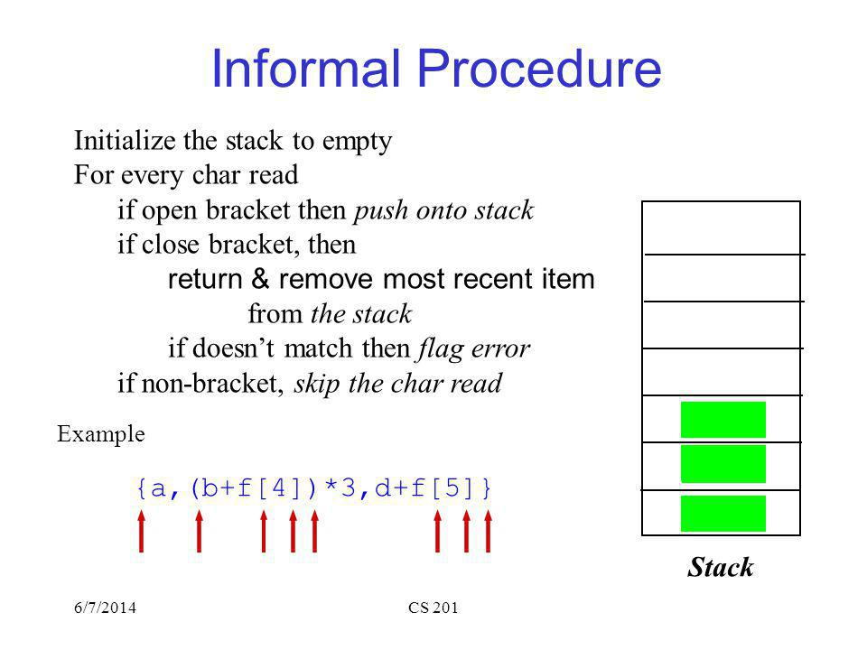6/7/2014CS 201 Informal Procedure Initialize the stack to empty For every char read if open bracket then push onto stack if close bracket, then return & remove most recent item from the stack if doesnt match then flag error if non-bracket, skip the char read Example {a,(b+f[4])*3,d+f[5]} Stack { ( [ ) } ] [ ]