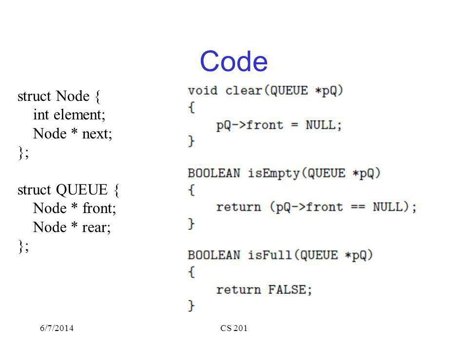 6/7/2014CS 201 Code struct Node { int element; Node * next; }; struct QUEUE { Node * front; Node * rear; };