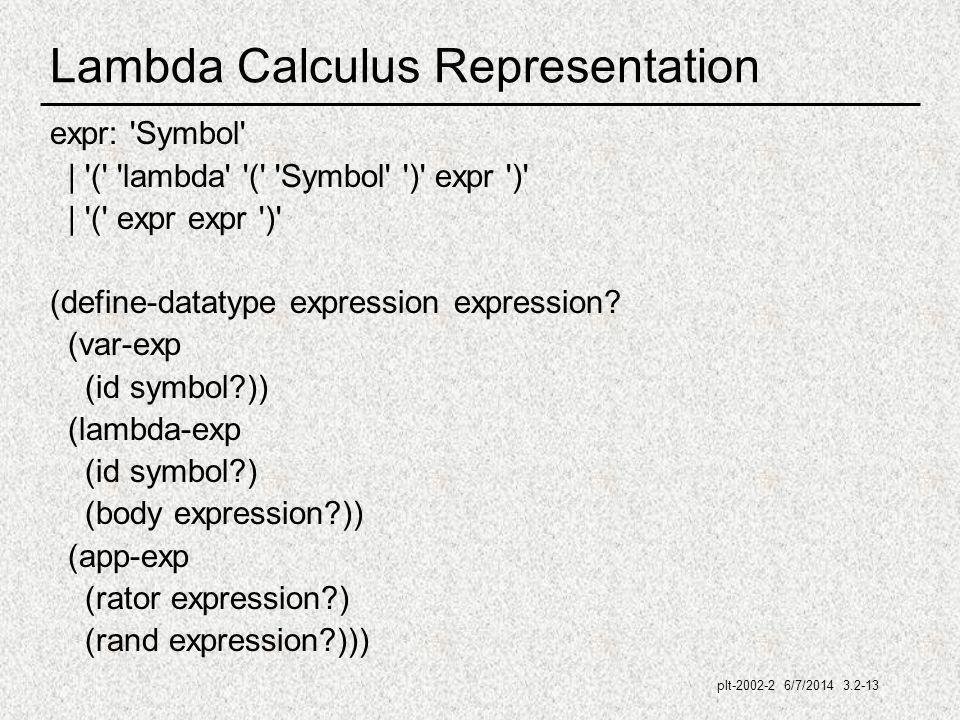 plt-2002-2 6/7/2014 3.2-13 Lambda Calculus Representation expr: Symbol | ( lambda ( Symbol ) expr ) | ( expr expr ) (define-datatype expression expression.