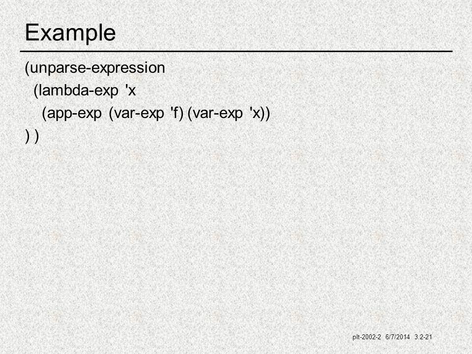 plt-2002-2 6/7/2014 3.2-21 Example (unparse-expression (lambda-exp x (app-exp (var-exp f) (var-exp x)) )