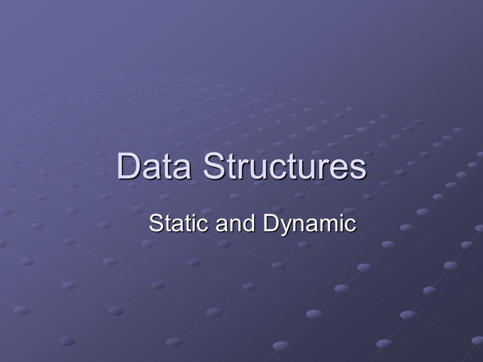 Learning Objectives Explain the difference between static and dynamic implementation of data structures, highlighting the advantages and disadvantages of each.