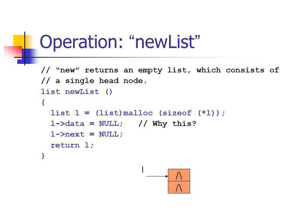 Operation: length int length (list l) { list p = l->next; int n = 0; while (p) { p = p->next; n++; } return n; } data next data next data next l … p n==0
