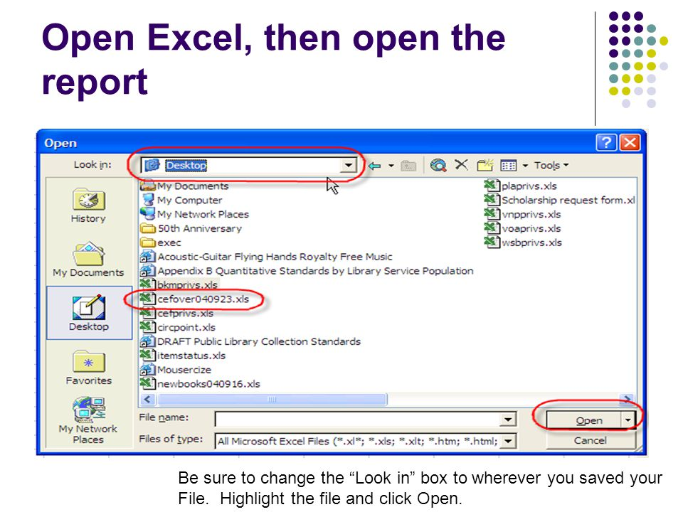 Open Excel, then open the report Be sure to change the Look in box to wherever you saved your File.