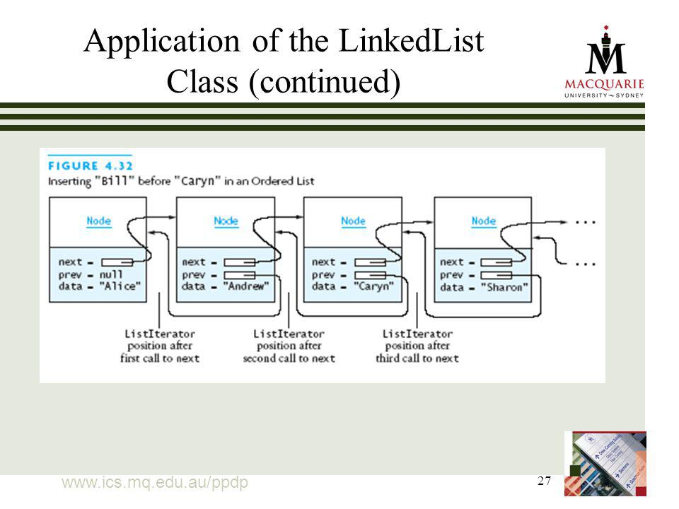 27 Application of the LinkedList Class (continued)