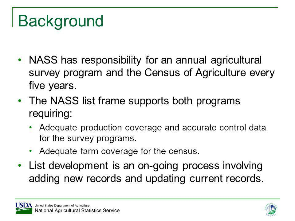 Background NASS has responsibility for an annual agricultural survey program and the Census of Agriculture every five years.