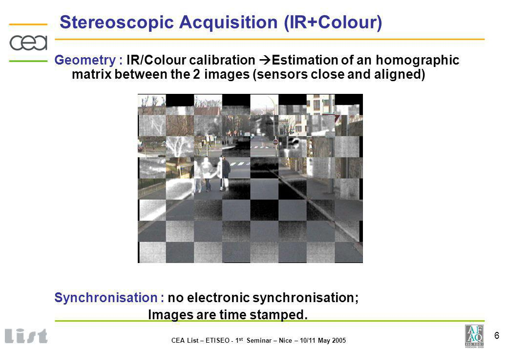 6 CEA List – ETISEO - 1 st Seminar – Nice – 10/11 May 2005 Stereoscopic Acquisition (IR+Colour) Geometry : IR/Colour calibration Estimation of an homographic matrix between the 2 images (sensors close and aligned) Synchronisation : no electronic synchronisation; Images are time stamped.