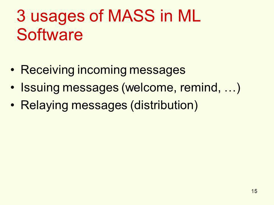 15 3 usages of MASS in ML Software Receiving incoming messages Issuing messages (welcome, remind, …) Relaying messages (distribution)