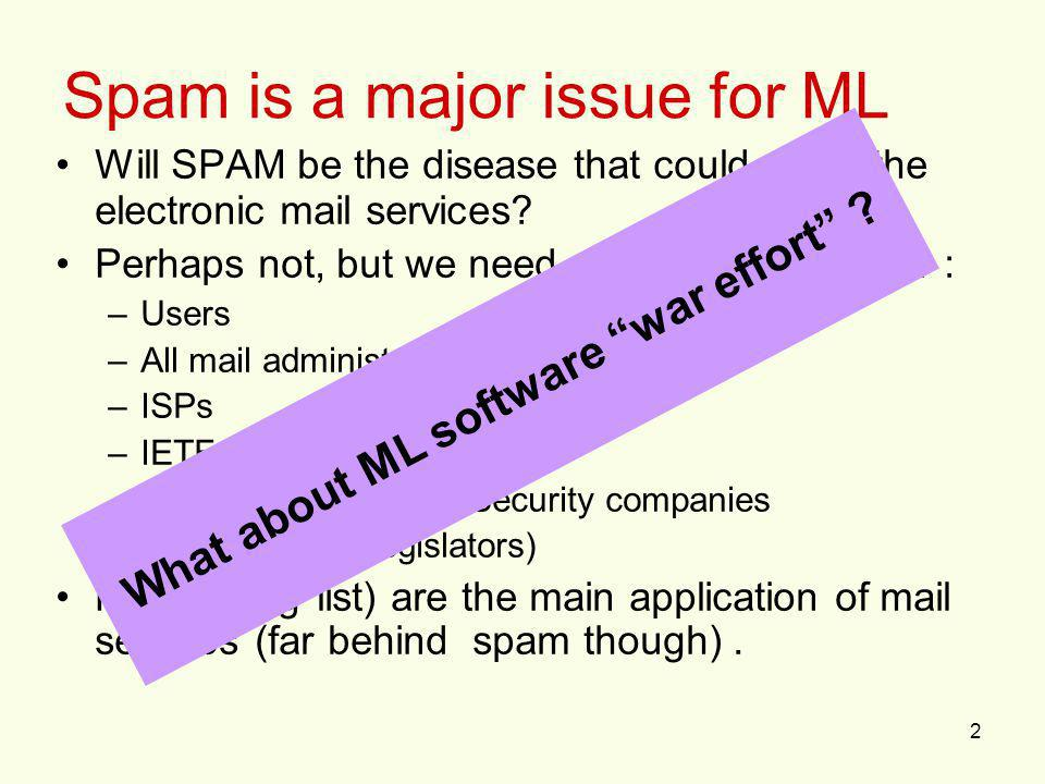 2 Spam is a major issue for ML Will SPAM be the disease that could shoot the electronic mail services? Perhaps not, but we need general mobilization :