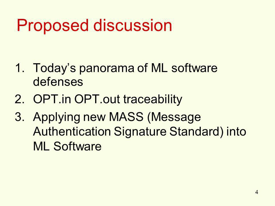 4 1.Todays panorama of ML software defenses 2.OPT.in OPT.out traceability 3.Applying new MASS (Message Authentication Signature Standard) into ML Soft