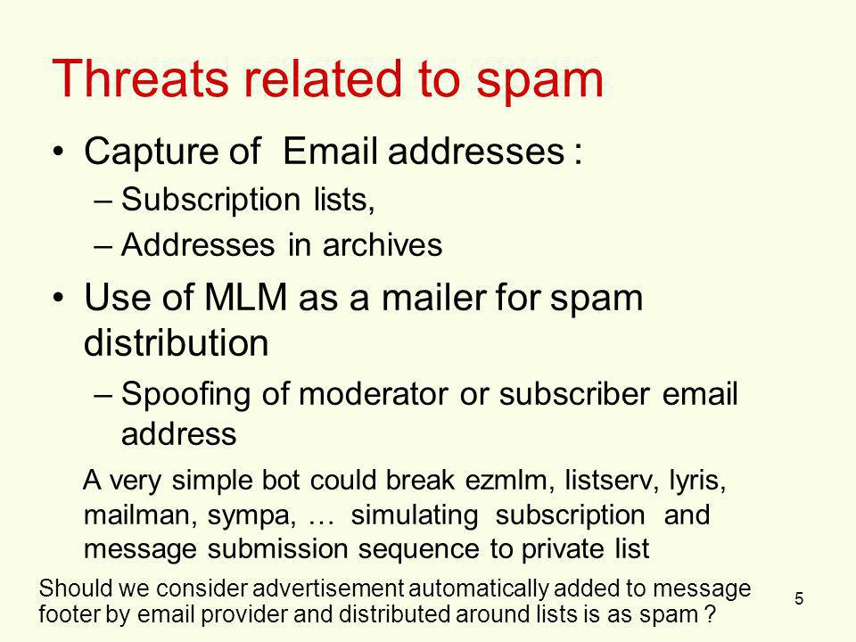 5 Threats related to spam Capture of Email addresses : –Subscription lists, –Addresses in archives Use of MLM as a mailer for spam distribution –Spoof