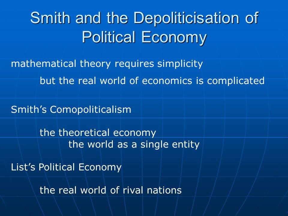 Listian Political Economy Today Dominance of neo-liberalism as a development discourse and negative examples of autarkic economies eg: Burma and North Korea (but neither are Listian in any real way)