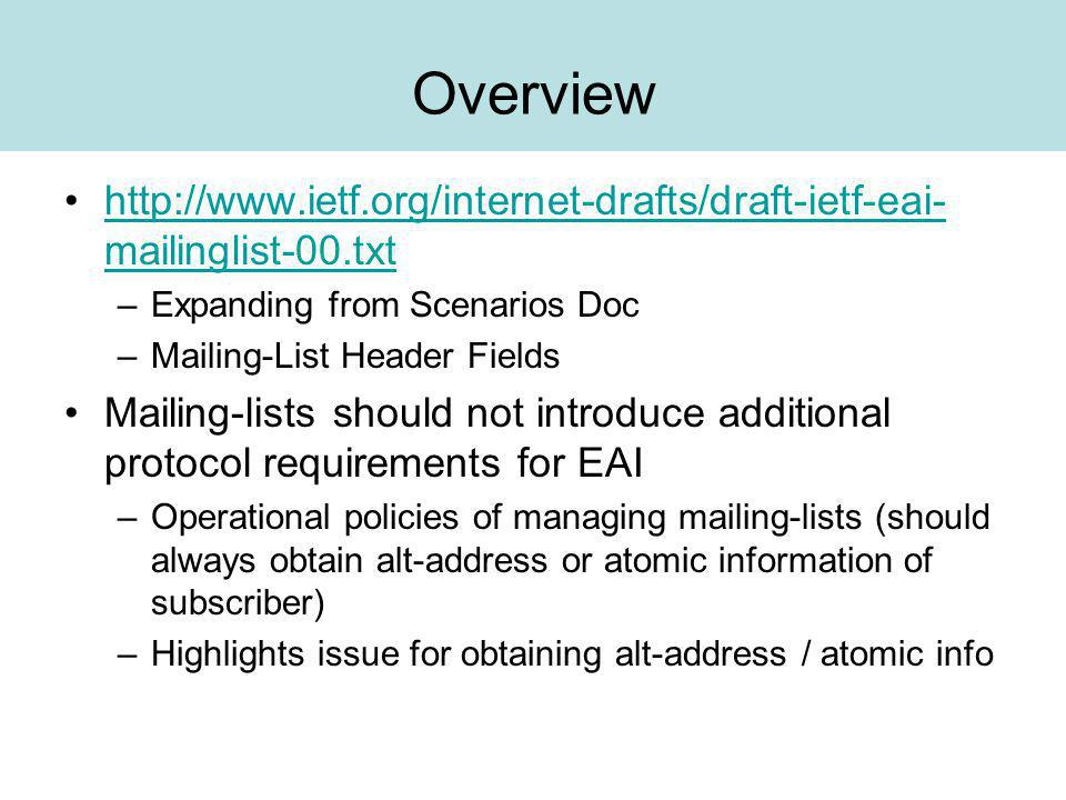 Scenarios Pure Case (only members involved) –Member Mailing-List –Mailing-List Member Scenario 2.1 -- Two i18nmail users Scenario 2.4 -- One i18nmail user sends to one ASCII user Mixed Case (non-members involved) –Non-Member Mailing-List –Non-Member cc-ed –Member replying to list and cc-ing Non-Member Scenario 2.2 -- Three i18nmail users Scenario 2.5 -- An i18mail user sends to one ascii user and one i18nmail user