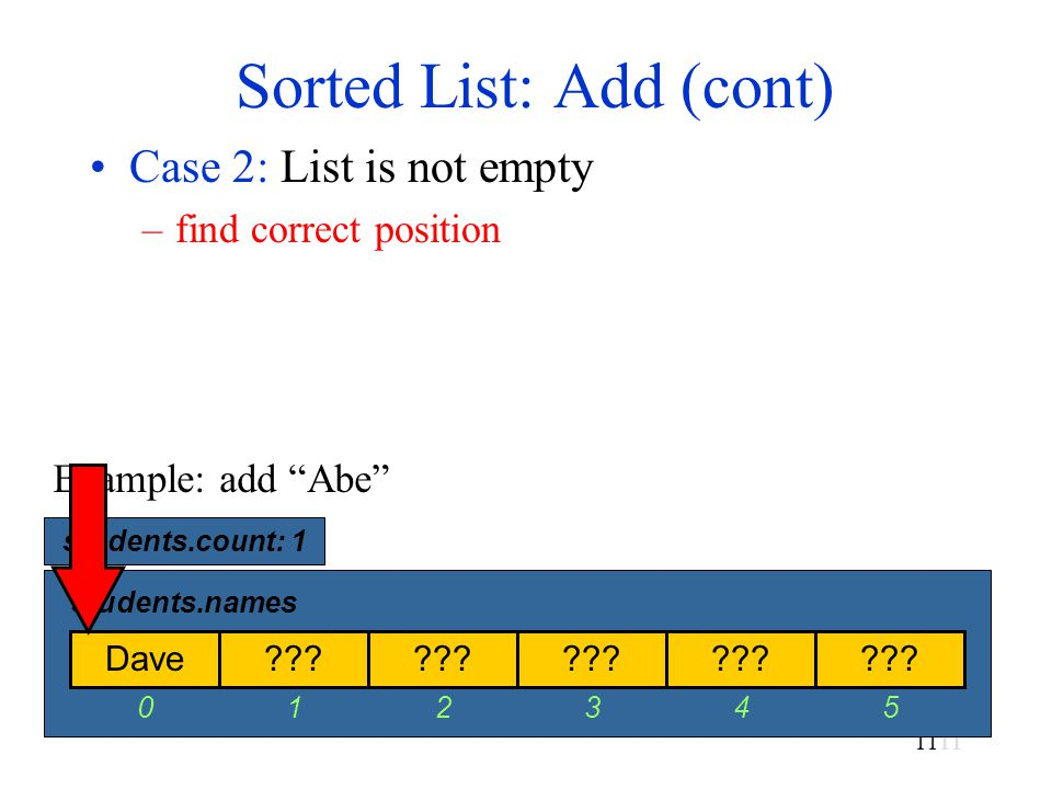 11 Sorted List: Add (cont) Case 2: List is not empty –find correct position Dave .