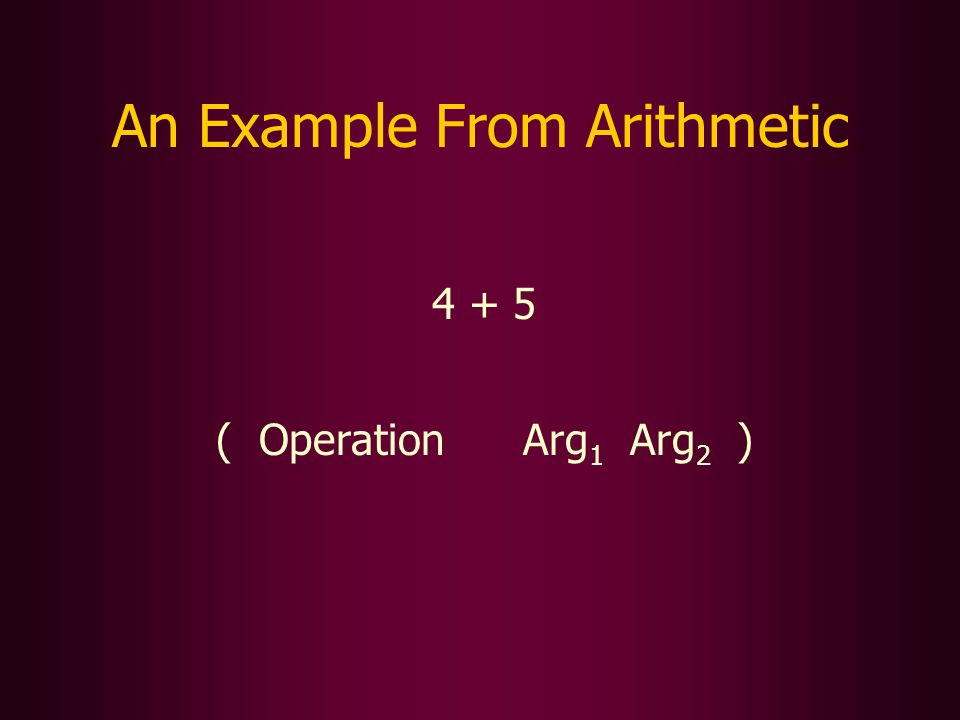 An Example From Arithmetic 4 + 5 ( Operation Arg 1 Arg 2 )