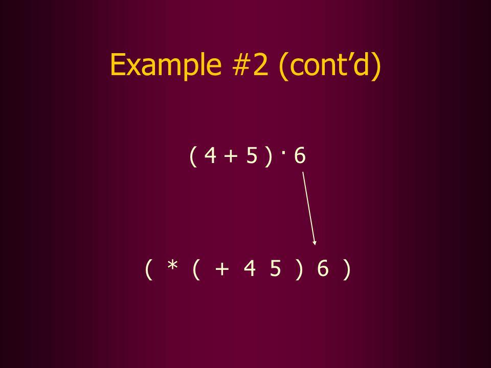 ( 4 + 5 ) · 6 ( * ( + 4 5 ) 6 ) Example #2 (contd)