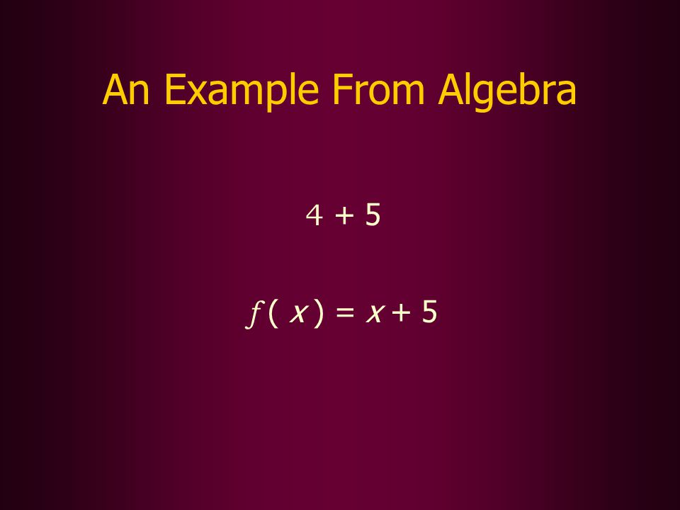 An Example From Algebra 4 + 5 f ( x ) = x + 5