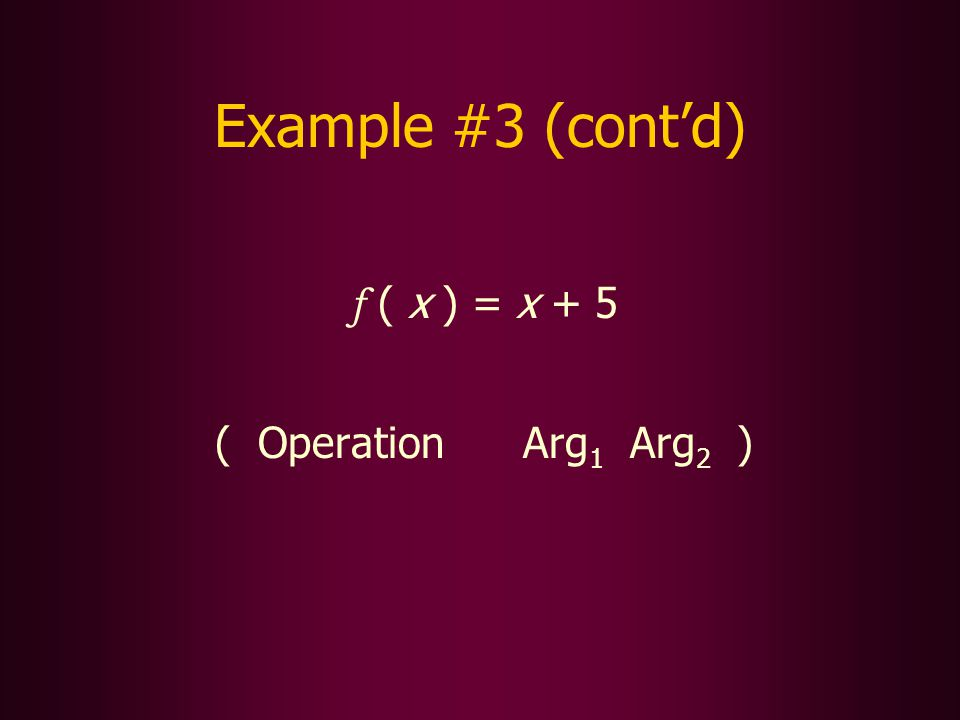 Example #3 (contd) f ( x ) = x + 5 ( Operation Arg 1 Arg 2 )