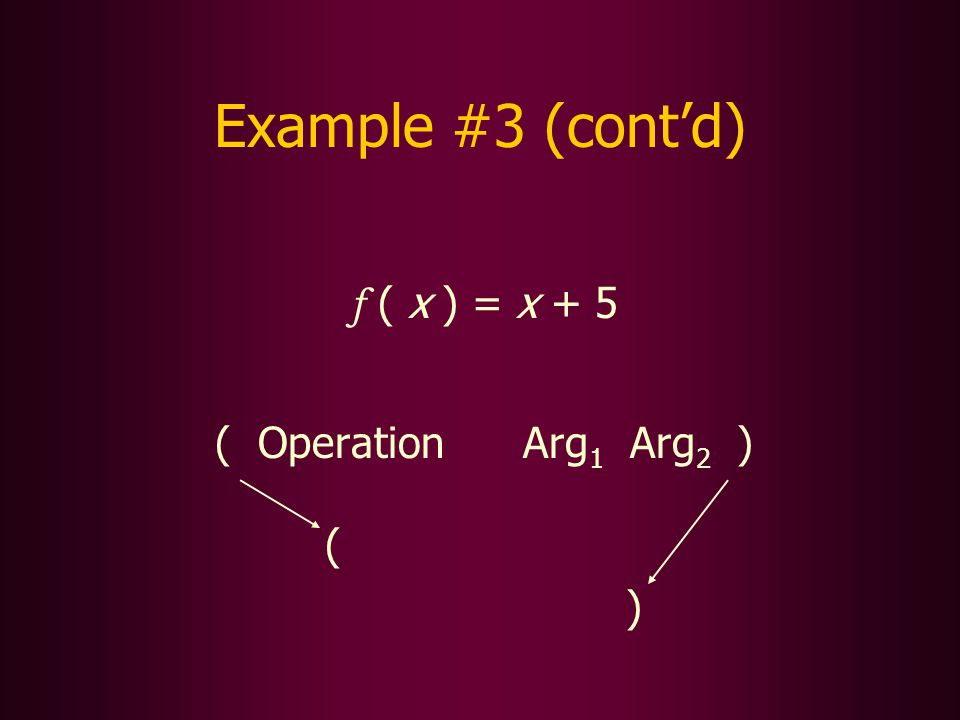 Example #3 (contd) f ( x ) = x + 5 ( Operation Arg 1 Arg 2 ) ( )