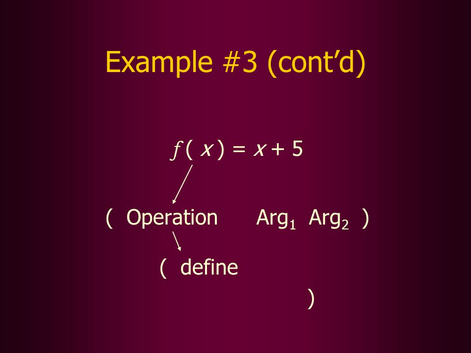 Example #3 (contd) f ( x ) = x + 5 ( Operation Arg 1 Arg 2 ) ( define )