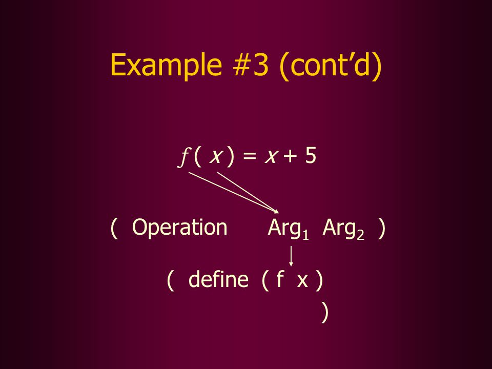 Example #3 (contd) f ( x ) = x + 5 ( Operation Arg 1 Arg 2 ) ( define ( f x ) )