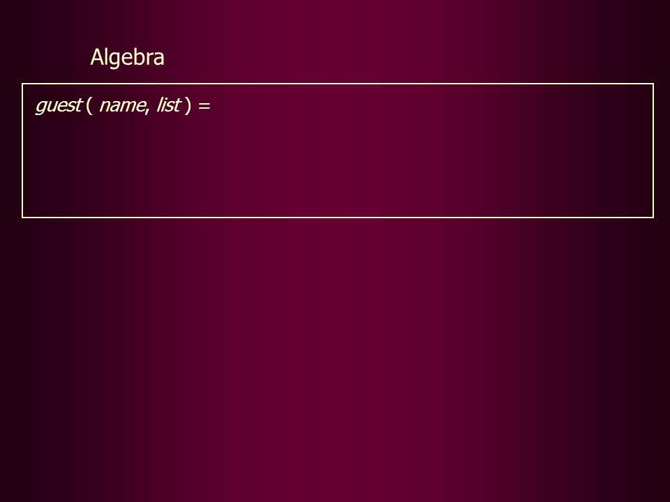 guest ( name, list ) = Algebra