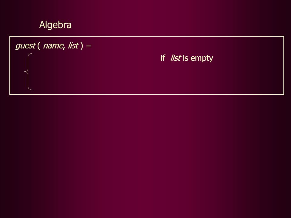 guest ( name, list ) = if list is empty Algebra