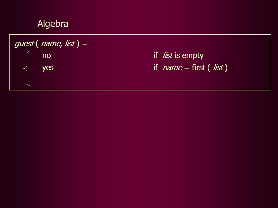 guest ( name, list ) = noif list is empty yesif name = first ( list ) Algebra