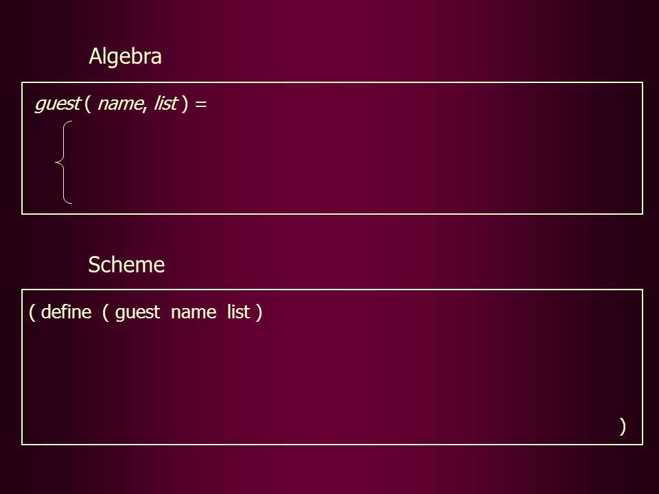 Scheme ( define ( guest name list ) ) guest ( name, list ) = Algebra