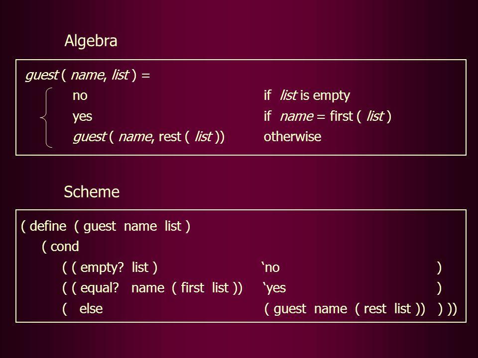 Scheme ( define ( guest name list ) ( cond ( ( empty.