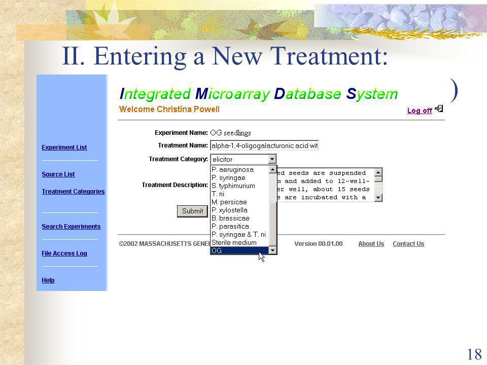 18 II. Entering a New Treatment: Section 2 (Treatment Creation Page)