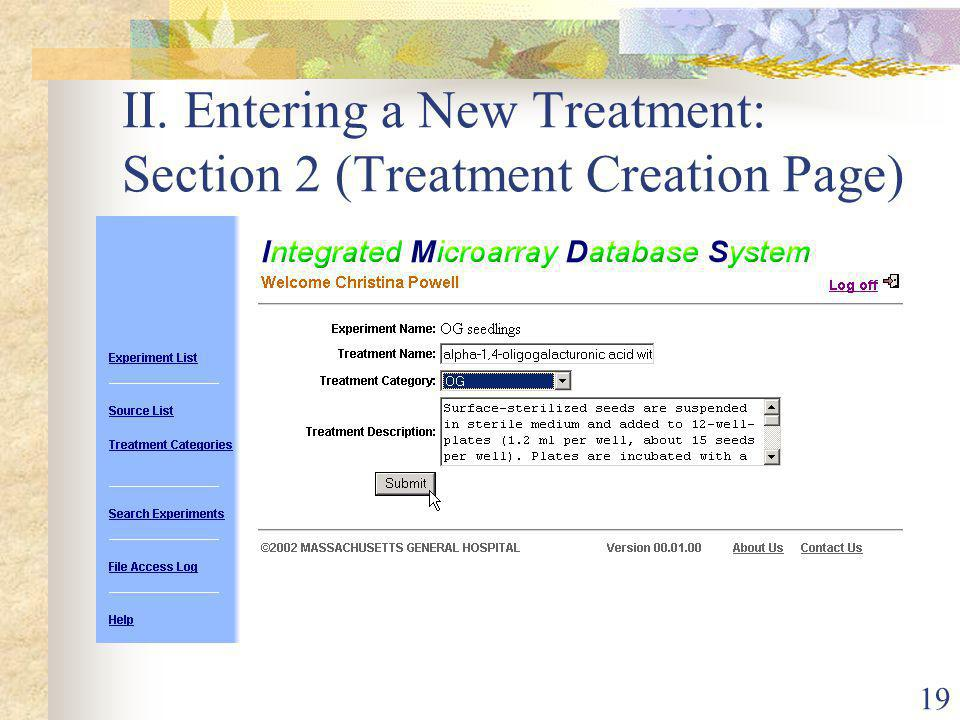 19 II. Entering a New Treatment: Section 2 (Treatment Creation Page)