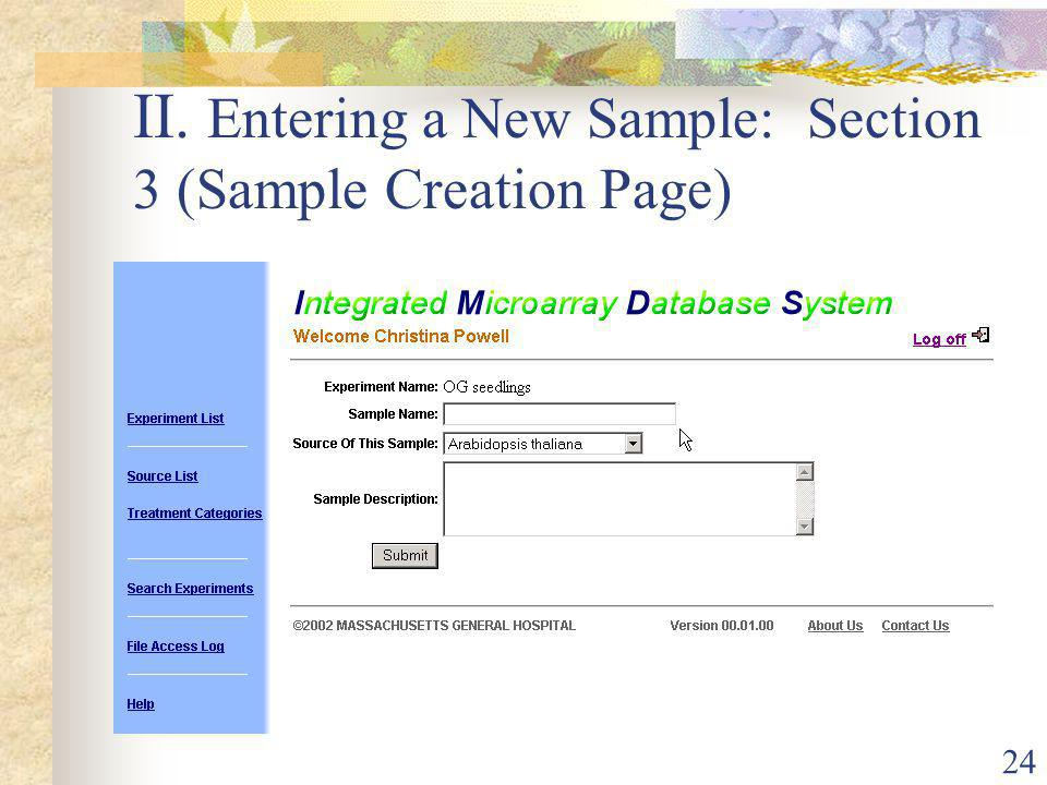 24 II. Entering a New Sample: Section 3 (Sample Creation Page)
