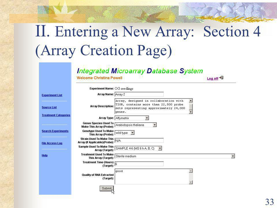 33 II. Entering a New Array: Section 4 (Array Creation Page)