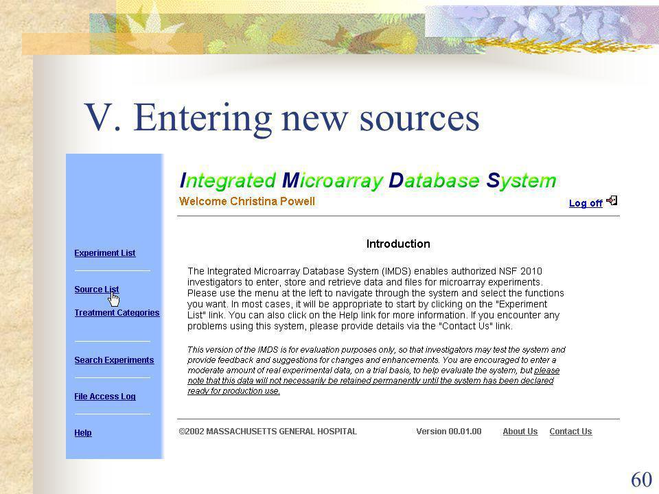 60 V. Entering new sources