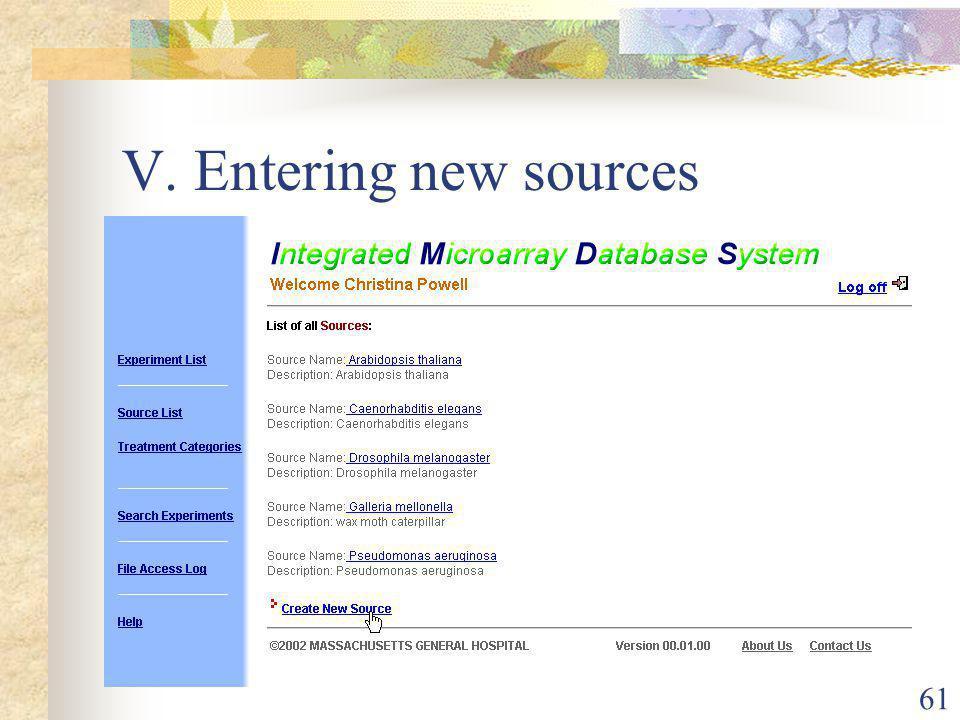 61 V. Entering new sources