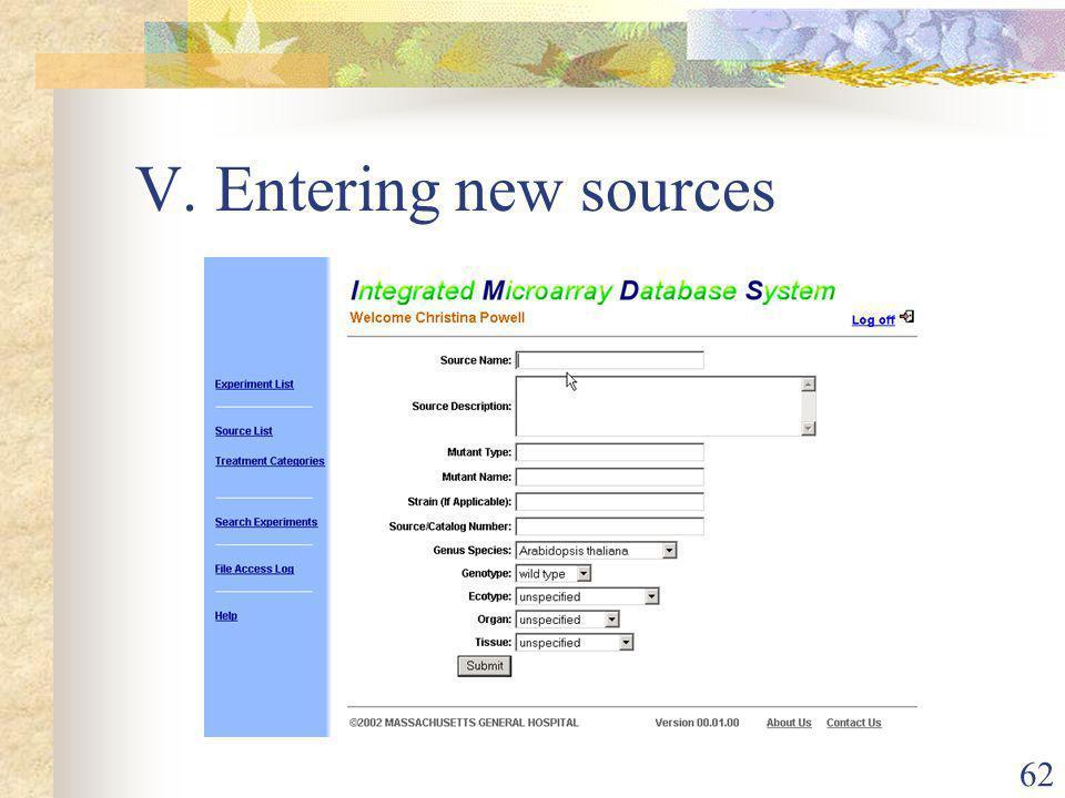 62 V. Entering new sources