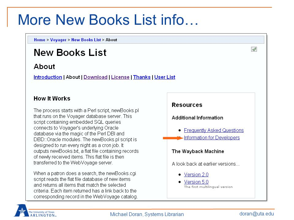 doran@uta.edu Michael Doran, Systems Librarian More New Books List info…FAQ