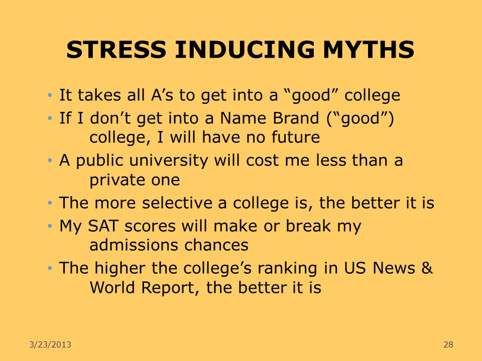 STRESS INDUCING MYTHS It takes all As to get into a good college If I dont get into a Name Brand (good) college, I will have no future A public univer