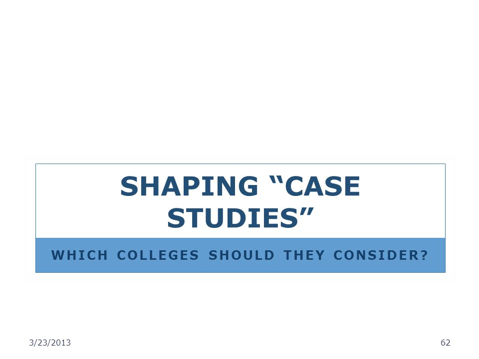 SHAPING CASE STUDIES WHICH COLLEGES SHOULD THEY CONSIDER? 3/23/201362