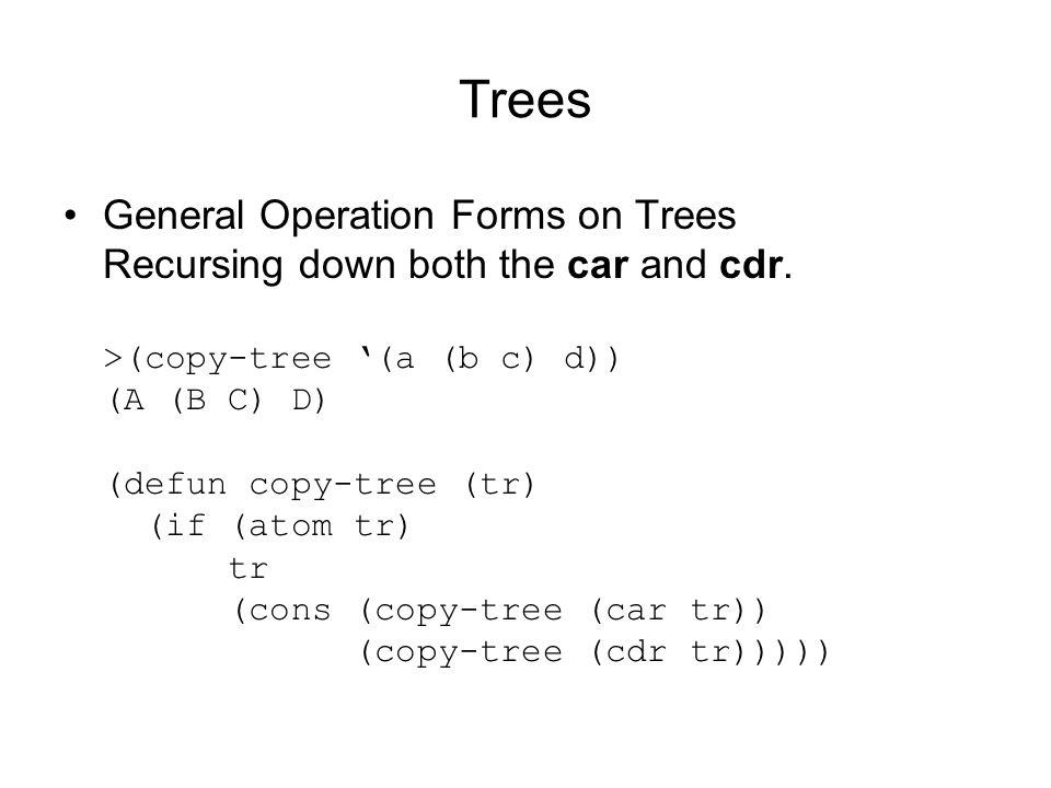 Trees General Operation Forms on Trees Recursing down both the car and cdr.