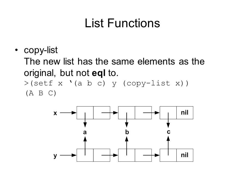 List Functions copy-list The new list has the same elements as the original, but not eql to.
