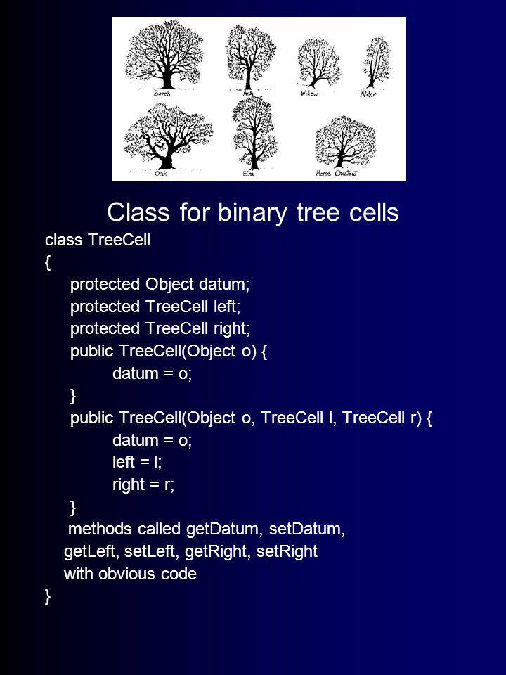 Trees! Class for binary tree cells class TreeCell { protected Object datum; protected TreeCell left; protected TreeCell right; public TreeCell(Object