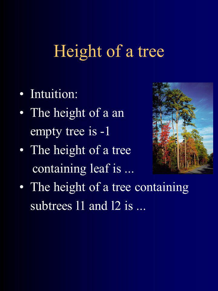 Height of a tree Intuition: The height of a an empty tree is -1 The height of a tree containing leaf is... The height of a tree containing subtrees l1