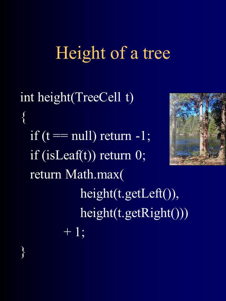 Height of a tree int height(TreeCell t) { if (t == null) return -1; if (isLeaf(t)) return 0; return Math.max( height(t.getLeft()), height(t.getRight()