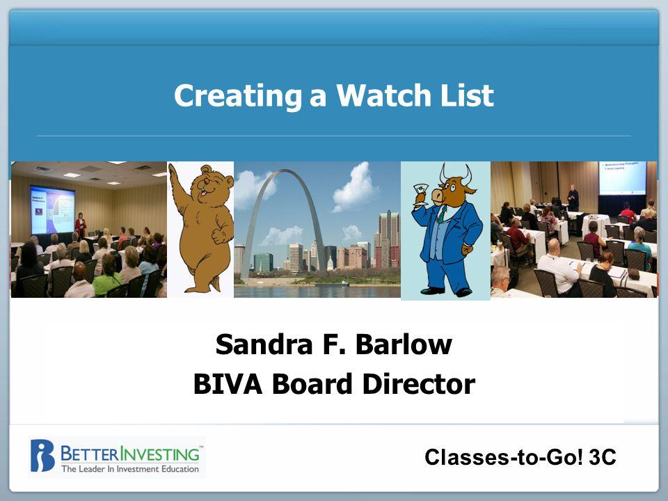 Sandra F. Barlow BIVA Board Director Classes-to-Go.