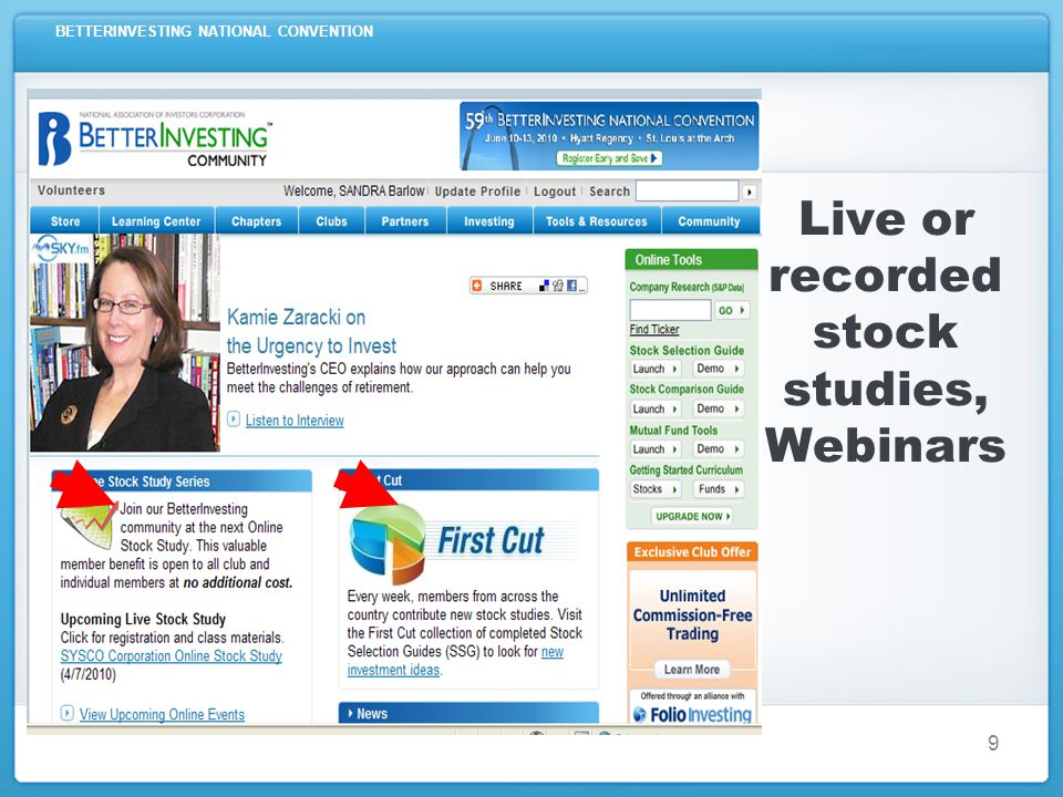 BETTERINVESTING NATIONAL CONVENTION 9 Live or recorded stock studies, Webinars